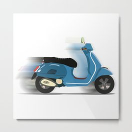 Retro Blue Scooter Metal Print