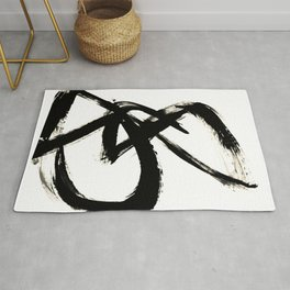 Brushstroke 3 - a simple black and white ink design Rug