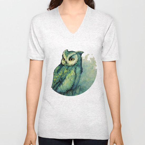 Green Owl Unisex V-Neck