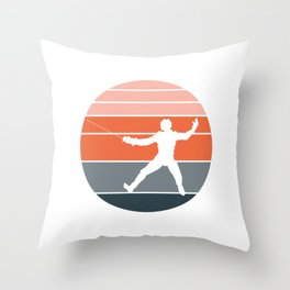 A Nice German Fencing Tee For Fencers Silhouette Of A Retro Fencer T-shirt Design Attack Defense Throw Pillow