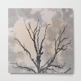 Stormy Skies, Abstract Art Tree Storm Clouds Metal Print