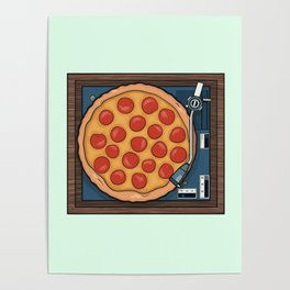 Pizza Record Player Poster