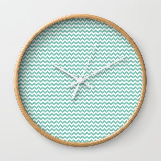 Chevron Mint Wall Clock