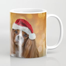 Drawing Dog breed Cavalier King Charles Spaniel  in red hat of Santa Claus Coffee Mug