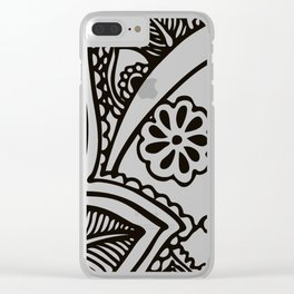 Floral Pattern | Black and White Clear iPhone Case