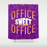office Shower Curtains featuring Office Sweet Office by Roberlan Borges