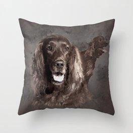Irish Setter Dogs Digital Art Throw Pillow