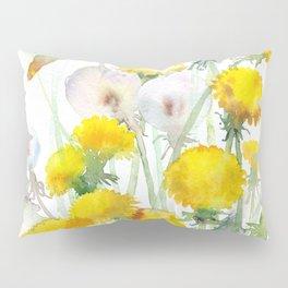 Watercolor yellow flowers dandelions Pillow Sham