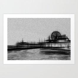 White Noise Santa Monica Pier Art Print