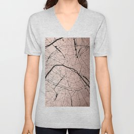 Paris France Minimal Street Map - Rose Gold Glitter on Black Unisex V-Neck