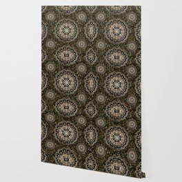 Rose Gold Mandalas with Brown and Copper Sparkles Wallpaper