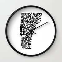 vermont Wall Clocks featuring Typographic Vermont by CAPow!