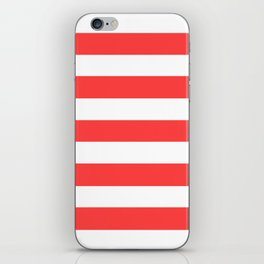 Coral red - solid color - white stripes pattern iPhone Skin