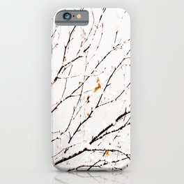 Snowy birch twigs and leaves #decor #society6 #buyart iPhone Case
