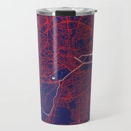 Caen, France, Blue, White, City, Map Travel Mug