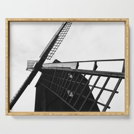 Wind Mill Architecture Black and White Photograph Serving Tray