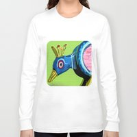 wooden Long Sleeve T-shirts featuring Wooden Peacock by Ethna Gillespie
