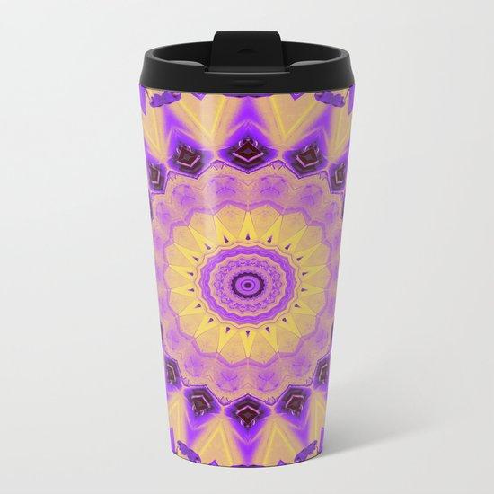 Bold Purple and Yellow Mandala Metal Travel Mug