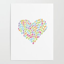 Binary Heart Colorful Poster