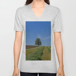 Relaxing in a field Unisex V-Neck