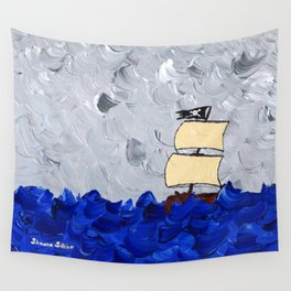 Pirate Ship On Stormy Seas in Acrylic Wall Tapestry
