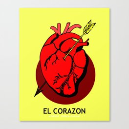 El Corazon Mexican Loteria Pop Art Canvas Print