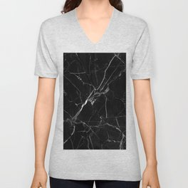 Black Marble Unisex V-Neck