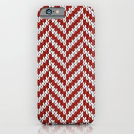 Realistic knitted herringbone pattern red iPhone Case