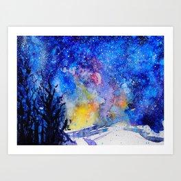 Midnight Galaxy Road watercolour by CheyAnne Sexton Art Print