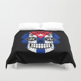 Sugar Skull with Roses and Flag of Cuba Duvet Cover