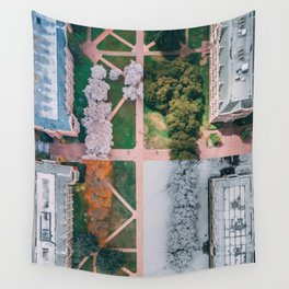 UW Cherry Blossoms: 4 Seasons Wall Tapestry
