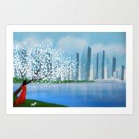 tintin Art Prints featuring Blossom City by Kennie Gathuru