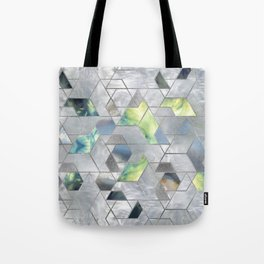 Geometric Translucent Agate and Mother of pearl Tote Bag