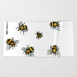 Just Some Beez A - White Beach Towel