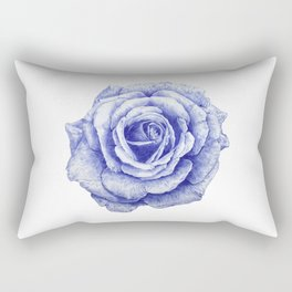 Ballpoint Blue Rose Rectangular Pillow