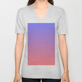 Color gradient 3. Pink and blue.abstraction,abstract,minimalism,plain,ombré Unisex V-Neck