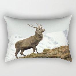Red Deer Stag in Winter Rectangular Pillow