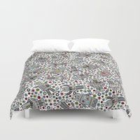 robots Duvet Covers featuring Retro Robots by robyriker