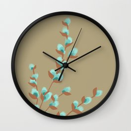 Minty Pussy Willows Wall Clock