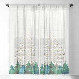 X-mas trees Sheer Curtain
