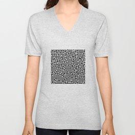 Black and white Labyrinth Unisex V-Neck