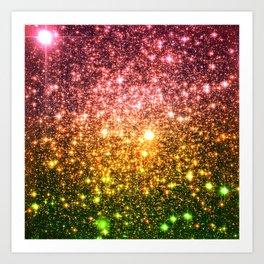 Pink Gold Green Galaxy Sparkle Art Print