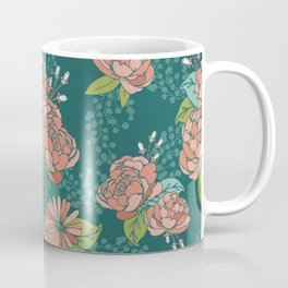 Moody Florals in Teal Coffee Mug