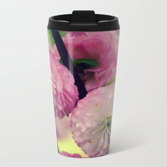Pretty pink Cherry Metal Travel Mug