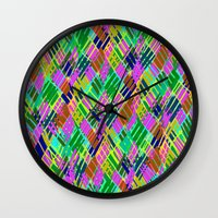 darren criss Wall Clocks featuring Criss Crossover by Sarah Bagshaw