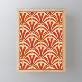 Art Deco Fan Pattern, Mandarin Orange Framed Mini Art Print
