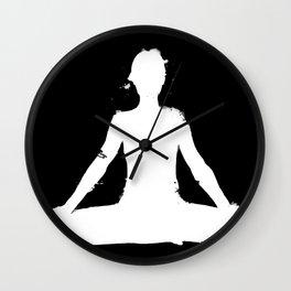 yoga pose chakra black and white silhouette  Wall Clock