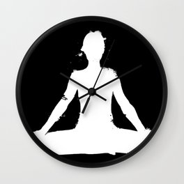 yoga pose chakra black and white silhouette  Wall Clock
