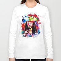jack sparrow Long Sleeve T-shirts featuring Captain Jack Sparrow by isabelsalvadorvisualarts