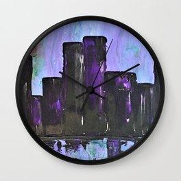 Purple City. Cyber Punk City. Jodilynpaintings Purple City Abstract Wall Clock